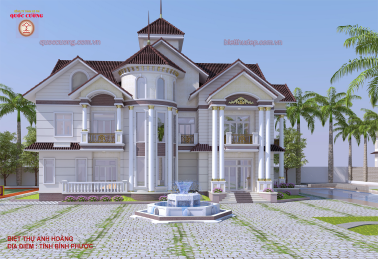 Beautiful villa . Neoclassical 2-storey villa. Investor: Mr. Hoang, Location: Binh Phuoc province